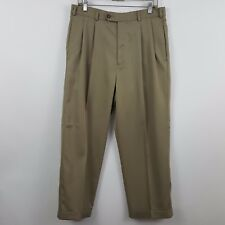 Jack Nicklaus Tan/Nude/Brown Pleated Cuffed Men's Dress Pants Size 32 x 27
