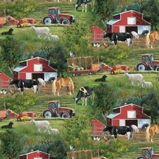 FARM SCENIC TRACTORS HORSES COWS BARNS FABRIC 1/2 YD