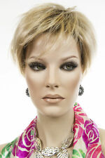 Strawberry Tipped Pale Blonde Shaded Med Brown Blonde Short Lace Front Pixi Wigs