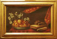 NATURA MORTA CON FRUTTA E LIBRI - Dipinto Originale 1800 cm 38x63