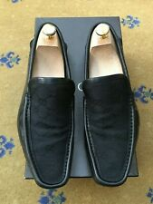 Gucci Mens Shoes Black Canvas Loafers Deck Boating UK 7.5 US 8.5 EU 41.5 Drivers