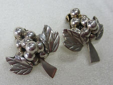 Sterling Silver Grape Cluster Clip on Earrings -- Free Shipping *