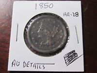 1850 Large Cent - Braided Hair type - Almost Unc. Details Cond - Lot# AR-28