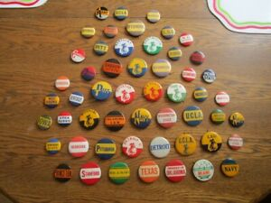 """54 Old Vintage College Football  1&3/4"""" & 1&1/4"""" Pins-1940's,50's,60's"""