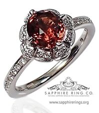 Untreated Certified 18KT 1.75 tw Orange Natural Oval Cut Sapphire & Diamond Ring