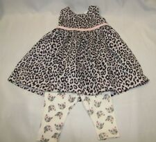 CARTERS BABY GIRL GRAY PINK BLACK SILVER LEOPARD DRESS KITTY CAT LEGGINGS 3-6