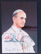 RUANDA MK 1966 PAPST PAUL VI POPE PAPA PAPIEZ MAXIMUMKARTE MAXIMUM CARD MC c5686