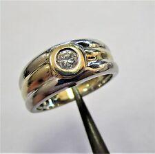 1534 - Dekorativer Ring Gold 585 gelb/weiß mit Brillant etwa 0,18 ct. - 2231/3