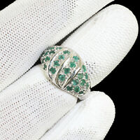 Natural Colombian Emerald Ring AAA Luxurious Green Gemstones 925 Sterling Silver