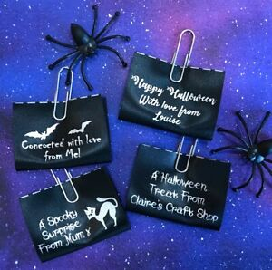 "Halloween ""Handmade"" personalised sew-in craft labels, black satin ribbon"