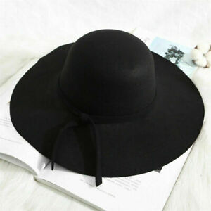 Autumn Winter Vintage Floppy Hat Women Elegant Felt Fedora Hat Wide Brim Sun Cap