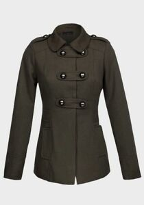 LADIES WOMENS Double Breasted Design Wool Blend Fully Lined Military Jacket Coat