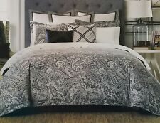 NEW TOMMY HILFIGER JOSEPHINE PAISLEY GRAY BLUE TWIN COMFORTER & STANDARD SHAM