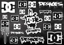 DC Skate Snowboard Decals Logo Stickers Adhesive Graphic Set Vinyl 19 Pcs