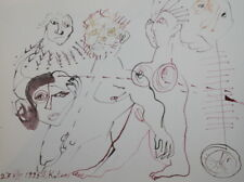 SURREALISM ABSTRACT NUDE WOMAN MALE FIGURES WATERCOLOR DRAWING SIGNED