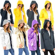 Ladies Womens Girls Rain Coat DESIGNER PU PVC Hoodie Parka Jacket WindBreaker