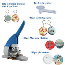 44mm Button Maker Badge Press+pin buttons+1pc 44mm Circle Cutter+Magnetic Button