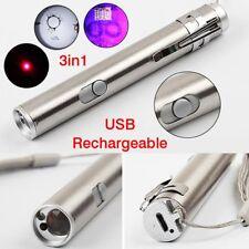 3 In 1 Mini Multifunction USB Rechargeable LED Laser UV Torch Pen Flashlight GOD
