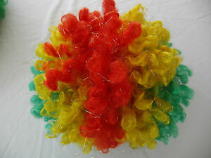 Multi Color Red Green Curly Short Clown Party Wig Halloween Costume Adult size