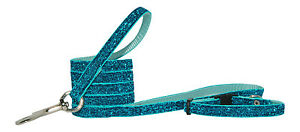 TURQUOISE BLUE SPARKLE CHIHUAHUA DOG PUPPY COLLAR & LEAD SET