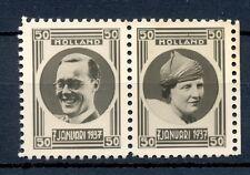 NEDERLAND 1937 2 FOTO ZEGEL -JULIANA en BERNARD (*)  PRACHT