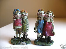 2 sets of ANTHONY FISHER little pixies couples arms around friends elf gnomes