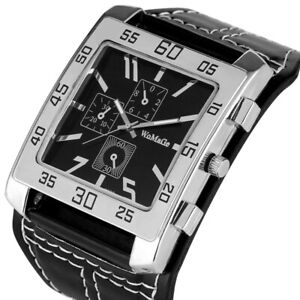 Mens Womens Casual Quartz Watch Big Square Dial Wrist Watches with Leather Strap