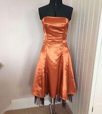 Burnt Orange Prom Bridesmaid Dress Size 10-12 A-line Faux Silk Halloween Wedding