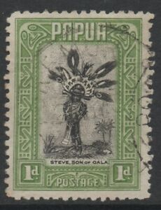 CLEARANCE !! PAPUA 1932-40 PICTORIALS 1d BLACK-GREEN 'CHIEFTAIN'S SON' STAMP VFU