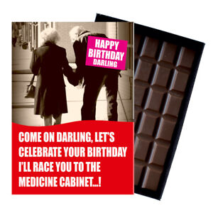 Novelty Chocolate Gift Wife Husband Older Pensioner Funny Greeting Birthday Card