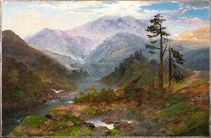 Large 19th Century Welsh Mountain Valley River Landscape Signed Indistinctly