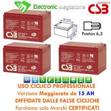 3 Batterie al piombo ad uso ciclico 12v 15Ah per bici elettrica da 36v