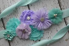 Flower Sash, aqua and violet Sash , flower Belt, maternity sash