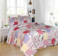 GLADYS FLOWERS SAGE BEDSPREAD QUILTED SET 3 PCS QUEEN SIZE
