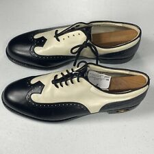 Vtg FOOTJOY Classics Ivory Black Leather WingTip Brogue Womens Golf Shoes Sz 9 B