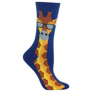 Giraffe in Sunglasses Hot Sox Women's Crew Socks Blue New Novelty Fashion