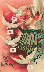Embossed Valentine Postcard Woman on Balcony Releases Doves w/ Letters ca 1906