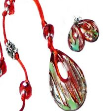 Red lampwork glass pendant, long necklace and earring set