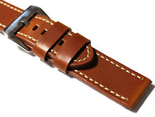 Diloy Edge Stitched Leather Watch Strap. 20, 22, 24mm Black, Tan and Brown