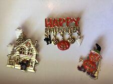 Spider Witch Hat Ghost Halloween Brooch Pin Pumpkin
