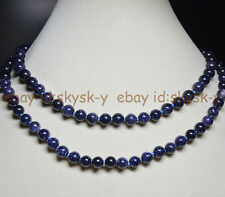 Long 36 Inches 8mm Galaxy Staras Blue Sand Sun Sitara Round Beads Gems Necklaces