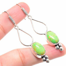 Green Turquoise Gemstone 925 Sterling Silver Earring 2.36 Inch ER-124
