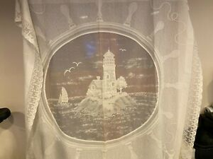 Lighthouse, Nautical theme shower curtain, lace crochet