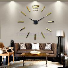 Soil Hockin DIY 3D Wall Clock Art Deco Cool Drawing Golden Stickers Clocks