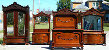 4 Piece Mahogany Victorian Bedroom Set~Bed~Dresser~Washstand~Wardrobe c1890-1910