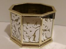 F.T.D.A. c 1985 Gold Octagon Mirrored Planter Container Made In Taiwan R.O.C.