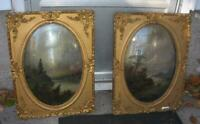 Pair Antique 19thC Hudson River School Paintings Ornate Gold Framed Bubble Glass