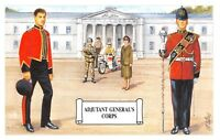 Postcard Adjutant General's Branch, Display of different forms of Corps Dress