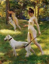 Nude Female Art Canvas Print Julius LeBlanc Stewart Nymphs Hunting Wall Art 8x10