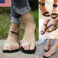 Women Summer Beach Transparent Flat Sandals Open Toe Gladiator Clear Jelly Shoes